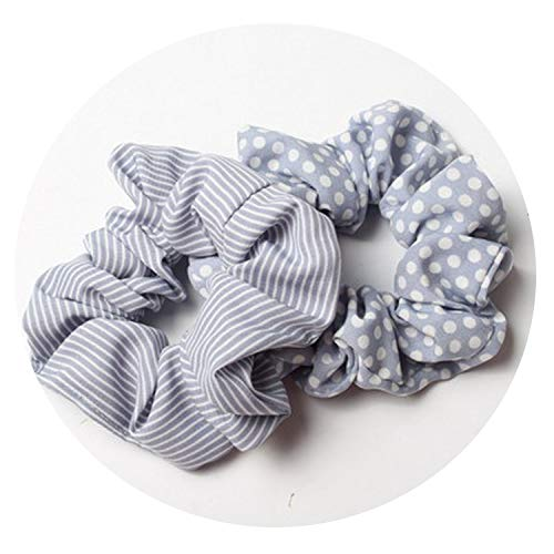 2pcs/lot Stripes And Dots Elastic Scrunchies Ponytail Holder