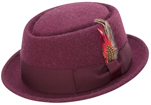 Wool Brim Hat Red Large (Montique Classic Snap Brim Pork Pie Teardrop Dent Hat, 100 Percent Soft Rabbit Wool, Coordinating Grosgrain Ribbon, and Feather Accent, Large, Burgundy, H-52)