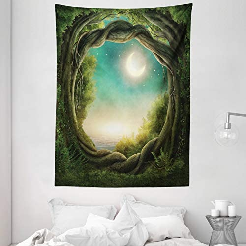 Ambesonne Trees Tapestry, Trees in Enchanted Forest Full Moon Artwork Girls Boys and Family, Wall Hanging for Bedroom Living Room Dorm, 60 X 80 , Teal Cream