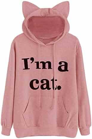 9955a8e52e1 Fainosmny Women Hoodies Print Pullover Tops Cat Ear Sweater Soft Warm Jumper  Long Sleeve Jacket Coat