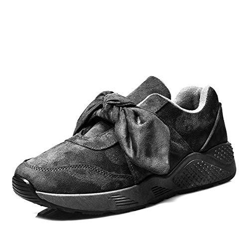GUNAINDMX Zapatos Ocasionales de la Mujer Pajarita Planos de Las señoras para Las Mujeres Zapatillas de Deporte Mocasines Femeninos Zapatos Redondos Rosados de la Mujer Gray