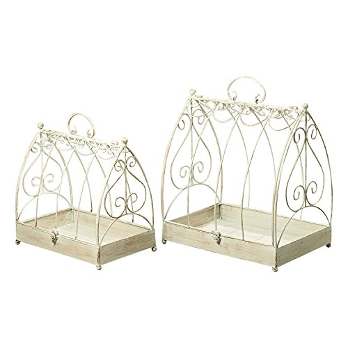 Metal Victorian Basket (The Farmers Market Decorative Bird Cages, Set of 2, Table Top Centerpiece For Treasures, Florals, Candles, Distressed White, Rusty Patina, Vintage Style 12 1/ and 16 1/2