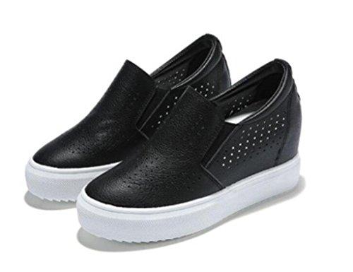 SHFANG Señora Zapatos De Cuero Pequeños Zapatos Blancos Estudiantes Ocio De Fondo Grueso Red Cómodo Escuela De Compras Black