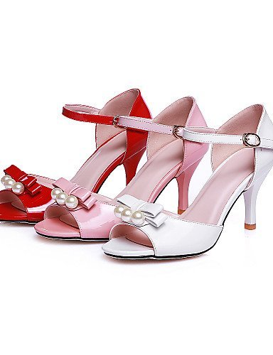 ShangYi Womens Shoes Stiletto Heel Peep Toe Sandals Party & Evening / Dress Pink / Red / White Red
