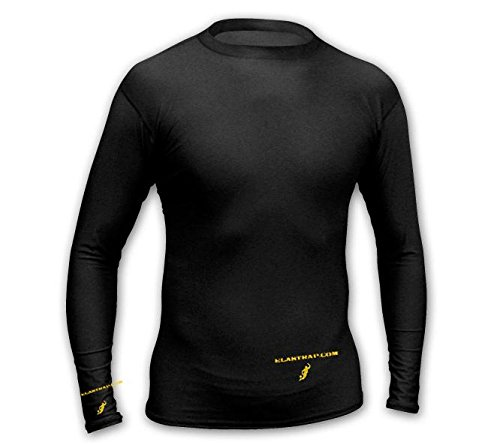 Black Thermal Tight Compression Tee Shirt Under Jumper–Hyper Warm Thermal Long Sleeve T Shirt Training Sport Light–Winter Sports and Leisure–Anti Sweat–Men and Women elastrap