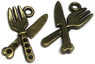 チャーム フォーク&ナイフ 約20×14mm 真鍮古美 【10個セット】