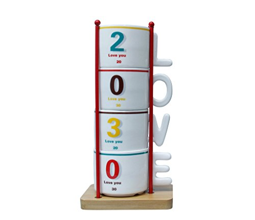 Pretty Housekeeper Stacking Porcelain Coffee Mugs Set with Rack, 20 30 Love Letter Shank,6 Oz Cups ()