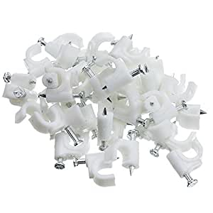 CableWholesale RG6 Cable-Clip, White, 100 Pieces per Bag (200-961)