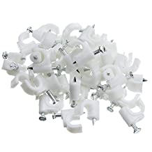 CableWholesale Rg6 Cable-Clip, White, 100 Pieces Per Bag (200-961)