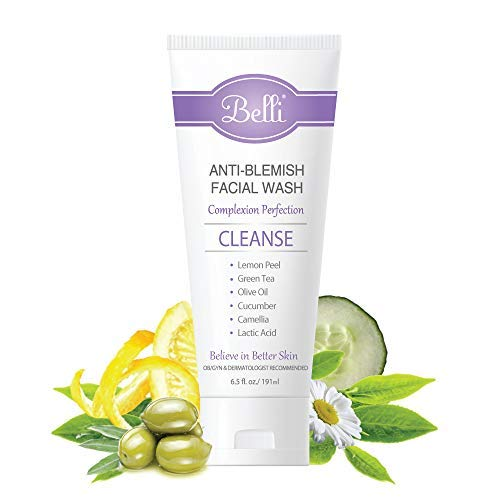 Belli Anti-Blemish Acne Facial Wash (6.5 Oz) - Pregnancy Safe Acne Face Cleanser - Clear Blemishes and Prevent Breakouts - Lactic Acid, Green Tea, Cucumber - Non-Irritating Formula (Best Face Wash For Acne During Pregnancy)