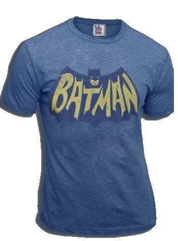 Junk Food Batman Vintage Logo Light Navy Adult T-shirt (Adult (Junk Food Batman)