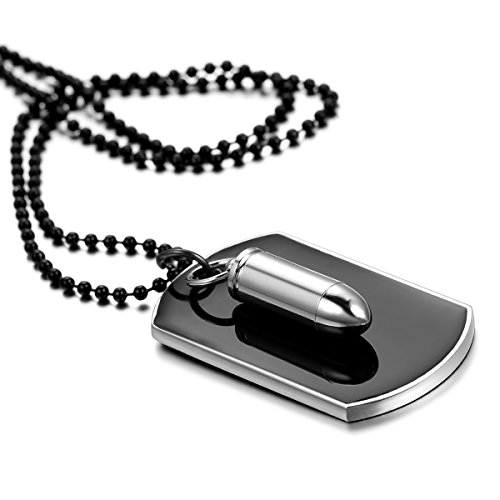 Mens High Polished Urn Ashes Bullet Dog Tag Pendant Necklace,22 Inch Chain Icluded