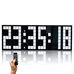 Zzyff Beautiful Creative Luminous Lattice Digital LED Large Screen Wall Clock, Remote Control Multi-Function Electronic Clock Mute, for Home/Outdoor/Public Occasions (24 8.5 5.5CM) Practical