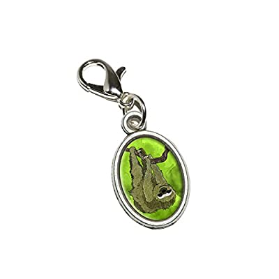 Graphics And More Sloth Watercolor Antiqued Bracelet Pendant Zipper Pull Oval Charm With Lobster Clasp - 0010315026312