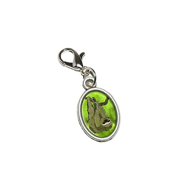 Graphics And More Sloth Watercolor Antiqued Bracelet Pendant Zipper Pull Oval Charm With Lobster Clasp -