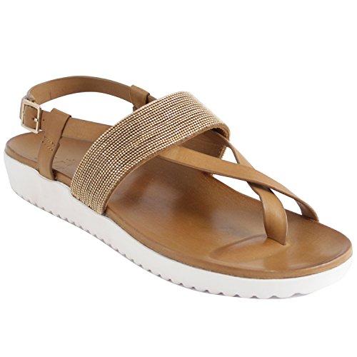 Exclusif ParisExclusif Paris Xoria, Chaussures femme Sandales cuir - Sandalias de Vestir Mujer Marrón - marrón