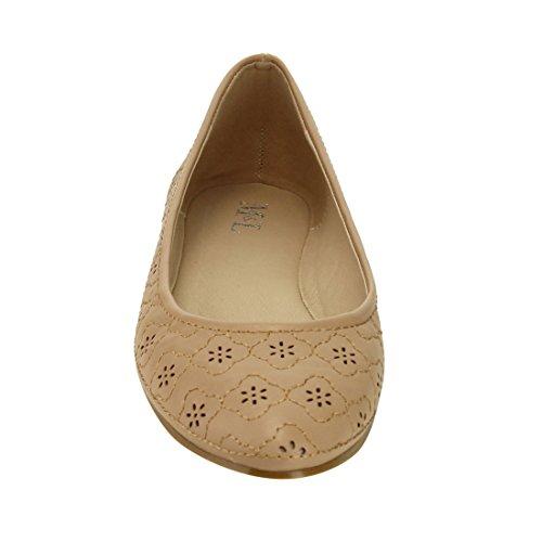 M & L Ah56 Dames Laser Slip Op Jurk Ballet Comfort Flats Naakt
