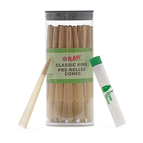 Raw Pre-Rolled Cones Classic King: 50 Pack | King Size Rolling Papers with Filters | Extra Clean and Slow Burning RAW Cone | Includes Green Blazer Doob Tube