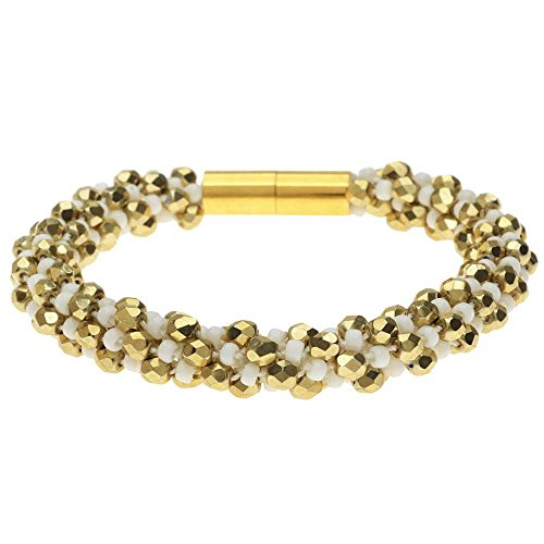 - Beadaholique Deluxe Spiral Beaded Kumihimo Bracelet - White and Gold - Exclusive Jewelry Kit