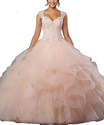 LastBridal Women Sweetheart Crystal Beading Sleeveless Lace Up Ball Gown Quinceanera Dresses LB0005 US 4 Peach