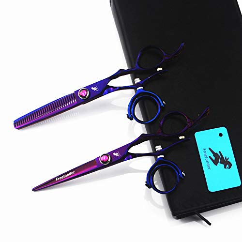 Japan 360 Degree Swivel Thumb Hair Cutting Scissors Barber Shears with Bag for Professional Hair Scissors Set Hairdresser 7 Inch Length by YIMAN
