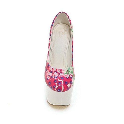 Amoonyfashion Womens Assortiment Kleur Pu Hoge Hakken Ronde Gesloten Teen Pull-on Pumps-schoenen Roze