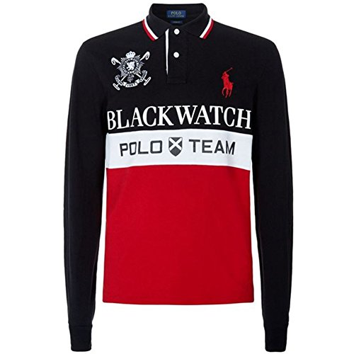 Big Pony Rugby Shirt (Polo Ralph Lauren Men's Custom Fit Blackwatch Big Pony Rugby Polo Shirt Black Multi X-Large)