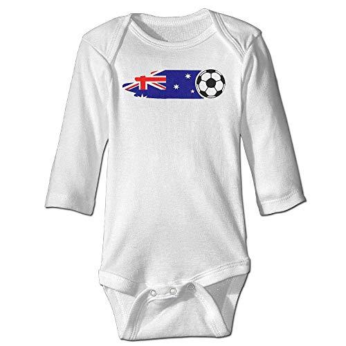 Newborn Baby Boys Girls Long Sleeve Climb Jumpsuit Australia Flag Soccer Ball Print Jumpsuit Onesie White -