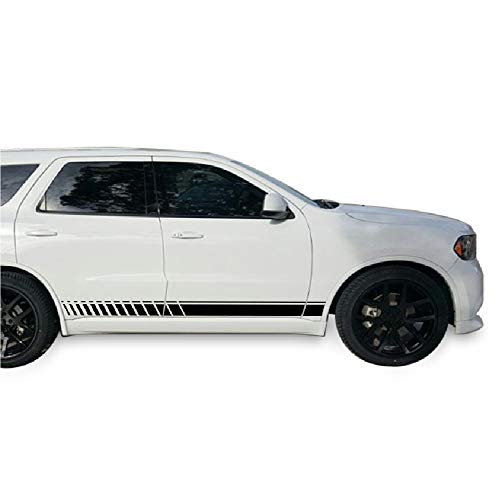 Side Stripe Kit - Bubbles Designs Decal Sticker Vinyl Side Sport Stripe Kit Compatible with Dodge Durango 2010-2017 (Black)