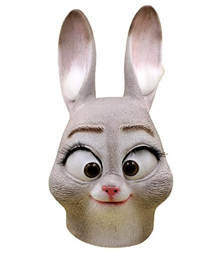 Rabbit Hole Costume (Big Mango Deluxe Novelty Halloween Costume Party Latex Animal Head Mask for Adults&Children (Rabbit))