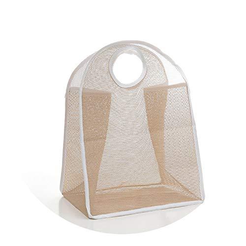 Asteria-Ashley Family Daily Nylon Grid Dirty Clothes Foldable Laundry Storage Baskets,Khaki]()
