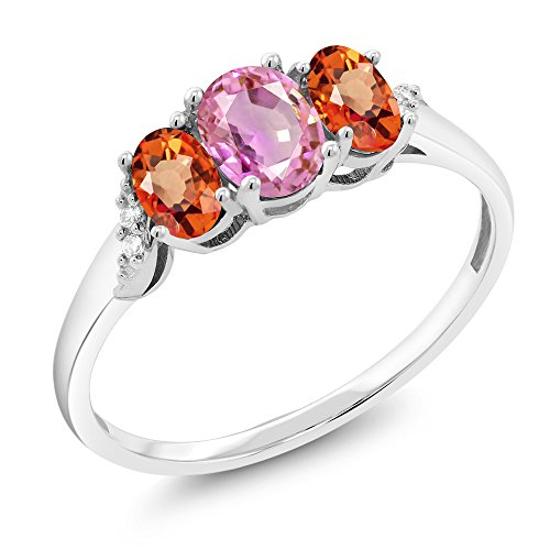 10K White Gold 1.12 Ct Pink Sapphire Orange Sapphire 3-Stone Ring With Accent Diamond