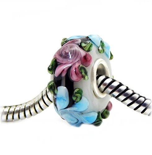 J&M Handmade 3D White Murano Glass Charm Bead with Pink and Blue Flowers for Charms Bracelets