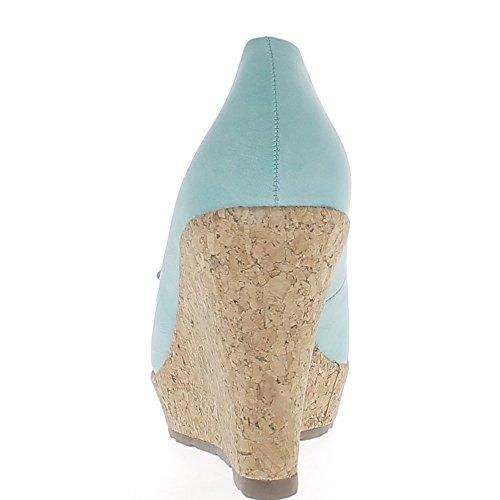 Offset color azul turquesa para tacon de 10cm y bandeja con nodo bonita y diamantes de imitación de oro