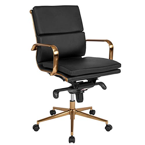Flash Furniture Mid-Back Black Leather Executive Swivel Chair with Gold Frame, Synchro-Tilt Mechanism and Arms