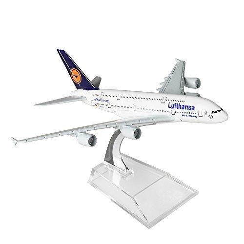 HANGHANG German Lufthansa Airbus 380 16cm Metal Airplane Models Child Birthday Gift Plane Models Home Decoration