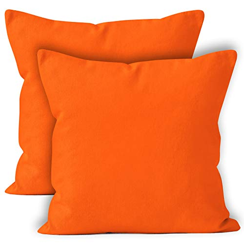 Encasa Homes Throw Cushion Cover 2pc Set - Orange - 20 x 20 inch Solid Dyed Cotton Canvas Square Accent Decorative Pillow Case for Couch Sofa Chair Bed & Home ()