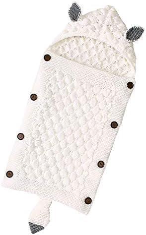 tejido de crochet, c/álida, suave, con capucha Rehomy Manta para beb/é reci/én nacido color rosa claro Arroz blanco
