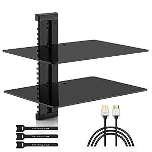 Amazon Com Double Floating Dvd Dvr Shelf 2x Wall