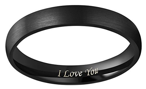 CROWNAL 4mm 6mm 8mm Black Tungsten Couple Wedding Bands Rings Men Women Dome Matte Brushed Finish Engraved I Love You Size 3.5 To 17 (4mm,6.5) by CROWNAL (Image #1)