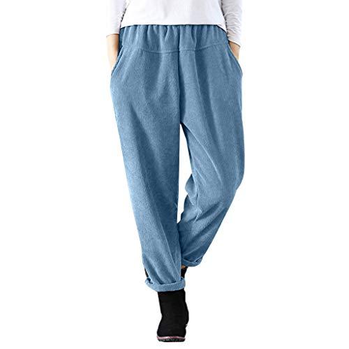 Women Casual Corduroy Harem Pants Junior Girls Fashion Solid Elastic Waist Long Trouser Lounge Pants (Blue, L)