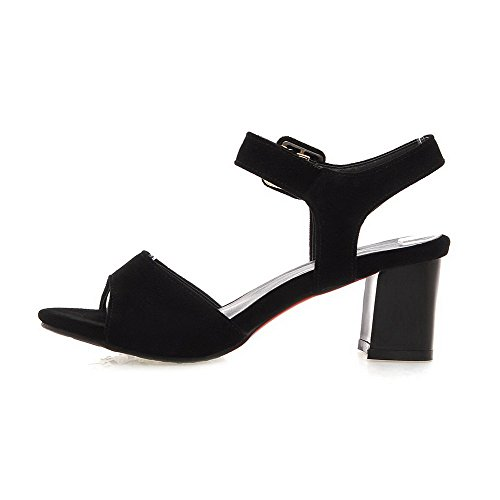 AllhqFashion Womens Open Toe Kitten-Heels Frosted Solid Buckle Sandals Black qH7I2v