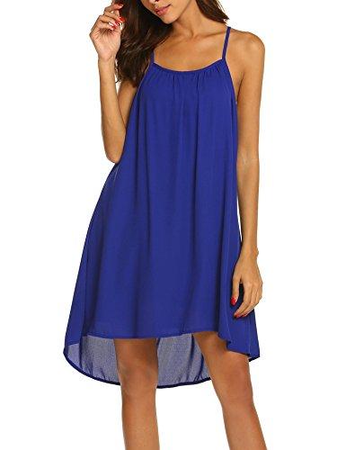 Strap Beach Women Chiffon Navy Spaghetti Sleep Lace Dress Soft Blue2 Short Patchwork Nightgown Summer Dress Chiffon Vanilo HzqdIwI