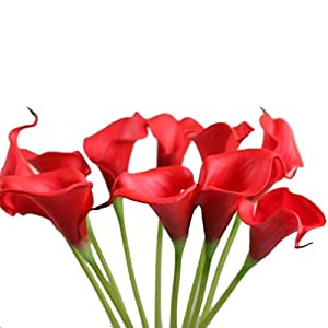 Ouniman Artificial Mini Calla Lily Flowers Bouquet for Wedding, Artificial Plants & Flowers,Babys Breath Artificial Flowers,Artificial Calla Lily Flowers Red 95