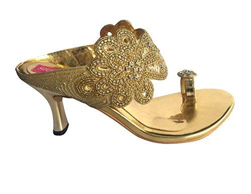 Schritt N Style Frauen High Heel flach Hochzeit Khussa Schuhe ethnischen indischen Khussa jutti