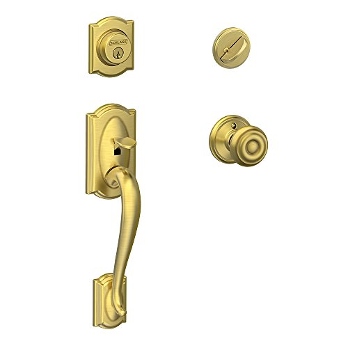 Satin Design Scalloped (Schlage Camelot Single Cylinder Handleset and Georgian Knob, Satin Brass (F60 CAM 608 GEO))