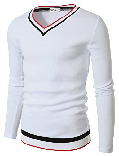 Doublju Men Daily Color Blocked Detail Long Sleeve Pullover Sweater, White, (US-S / ASIAN M)