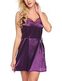 Avidlove Women Side Slit Strap Lingerie Satin Chemise Patchwork Lace Nightgowns