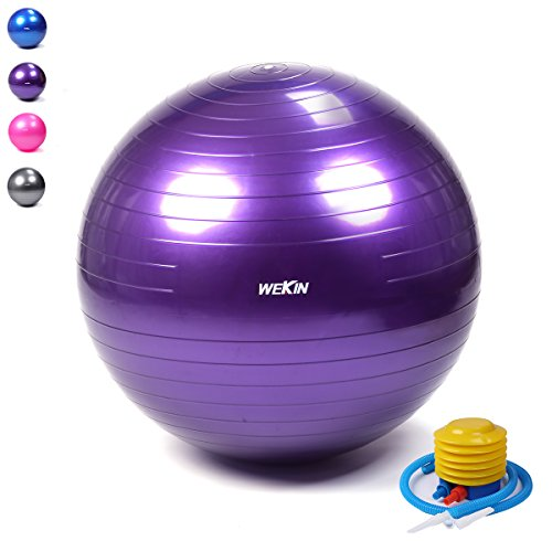 Wekin Anti-Burst Exercise Ball,Office Ball Chair, Balance trainer Ball, Birthing Ball with Pump for Fitness, Stability&Yoga, Extra Thick 400g heavier than other same size,2000lbs (Office and Home) 400g Balls