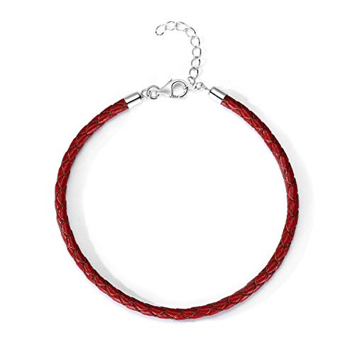 T400 Black Brown Red Pink White Bangle Charm Braided Bracelet Genuine Cowhide Leather Wristband for Unisex Women Men Beads Gift -